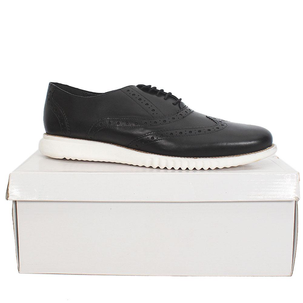 Kurt Geiger Blyth Black White Leather Comfort Fit Men Shoe Sz 42