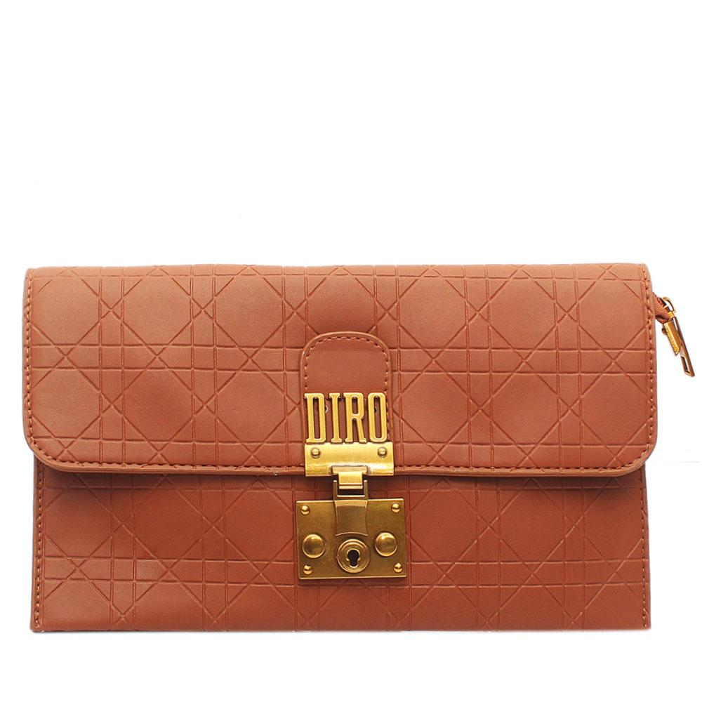 Brown Lonia Embossed Leather Flat Purse