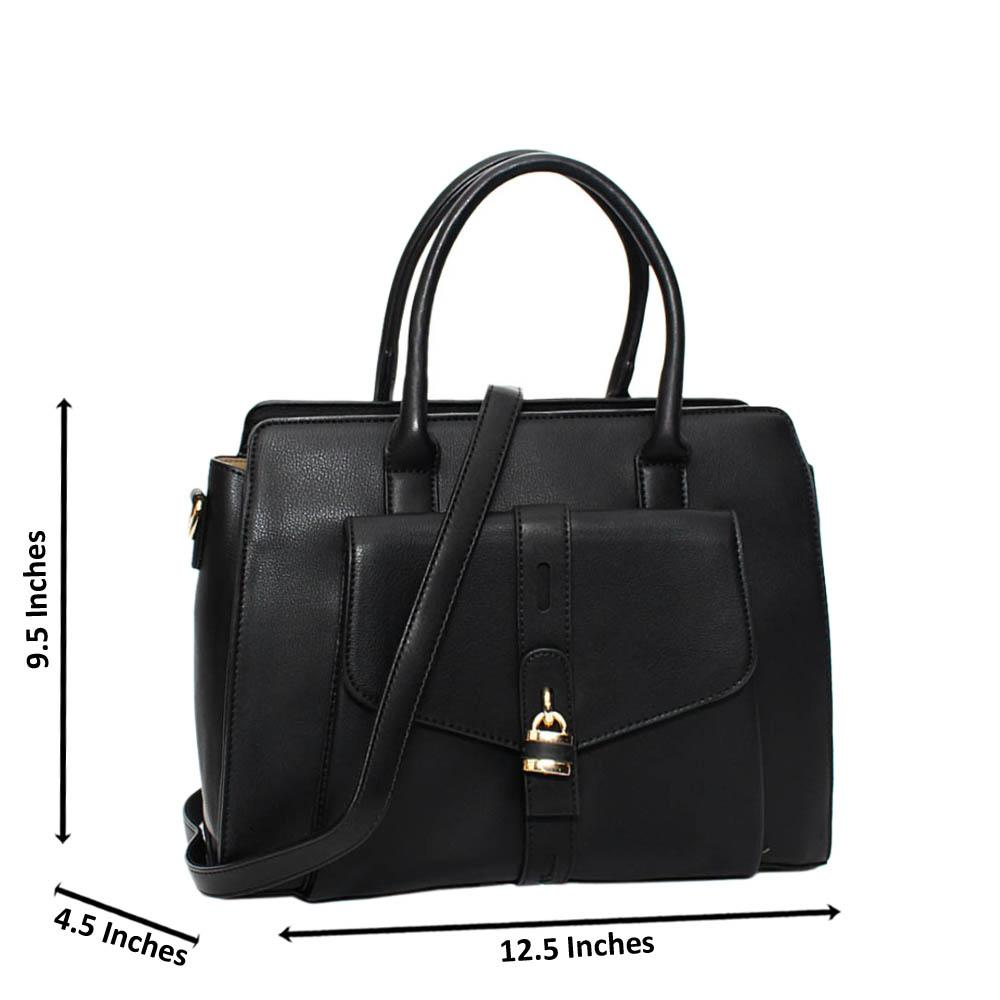 Black Aaliyah Leather Medium Tote Handbag