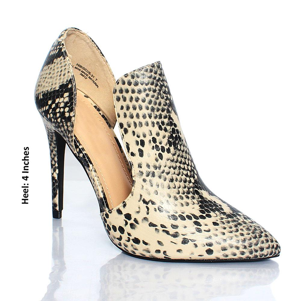 Monochrome Snake Skin Leather 4 Inch Ankle Heels