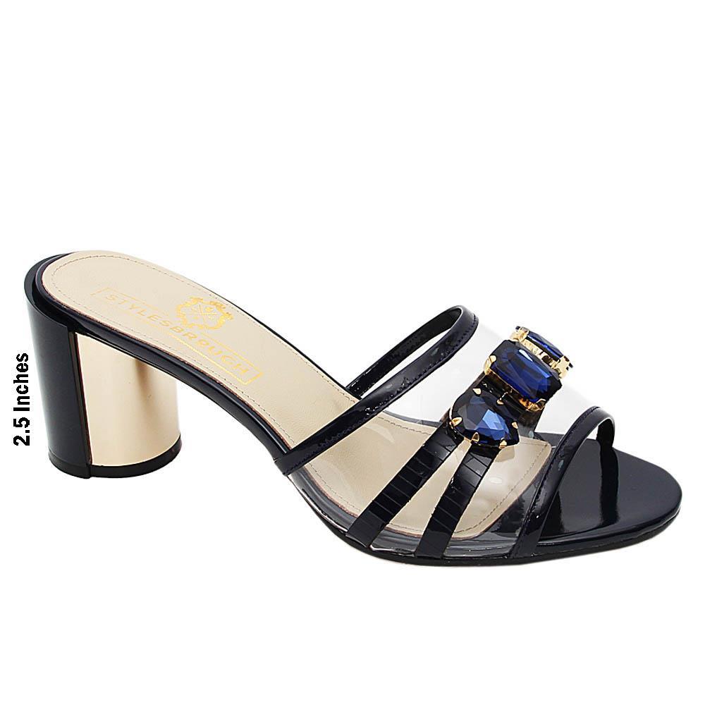 Dark Navy Catalina Italian Leather High Heel Mule
