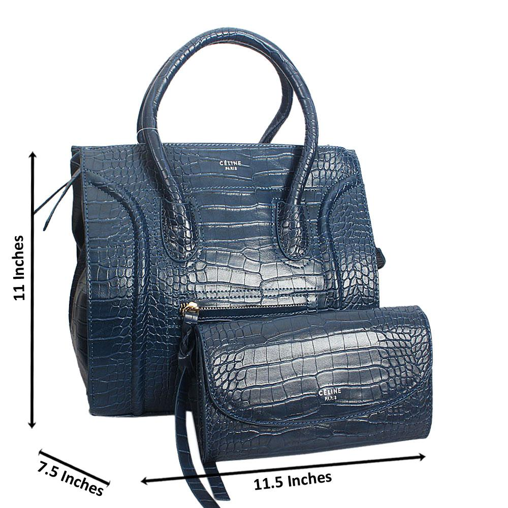 Jiselle Blue Croc Montana Leather Tote HandBag