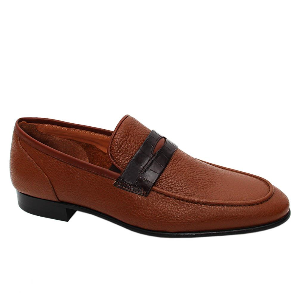 Brown Alexis Italian Leather Men Penny Loafers