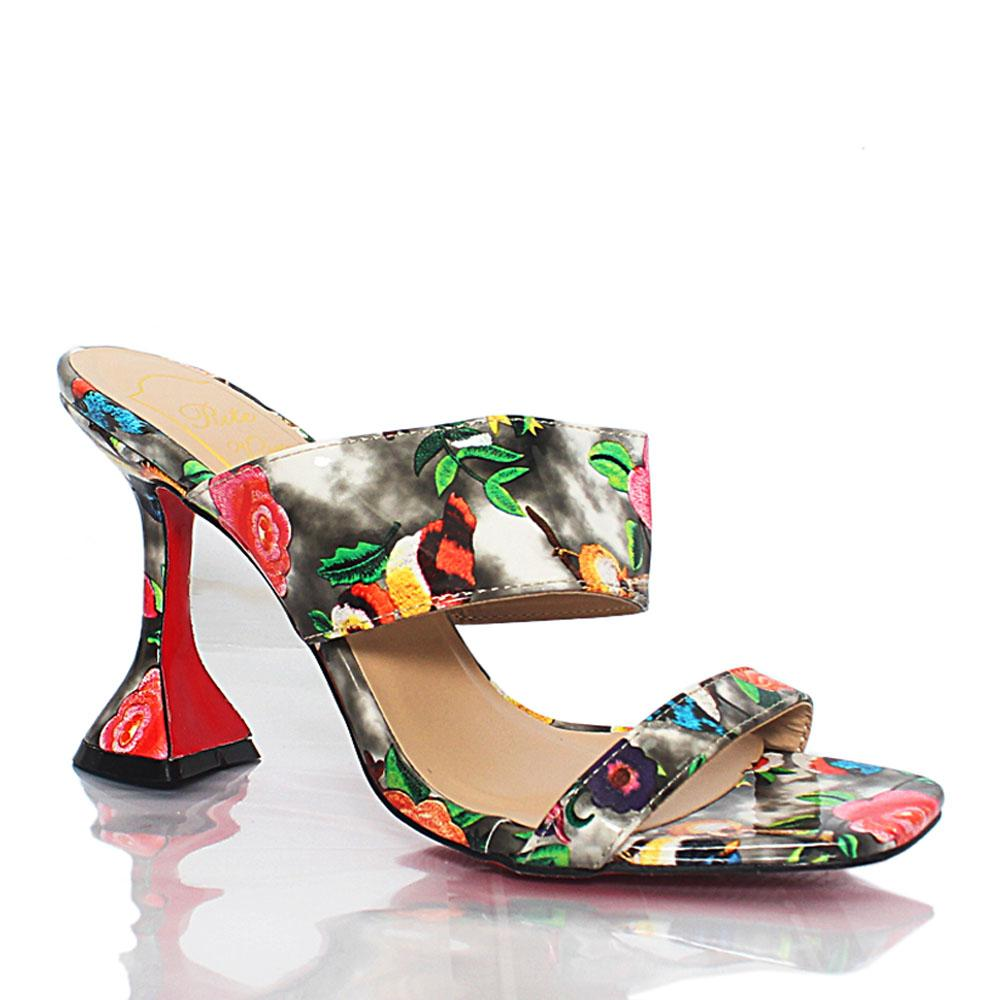 Black Floral Graphic Print Patent Leather Mules