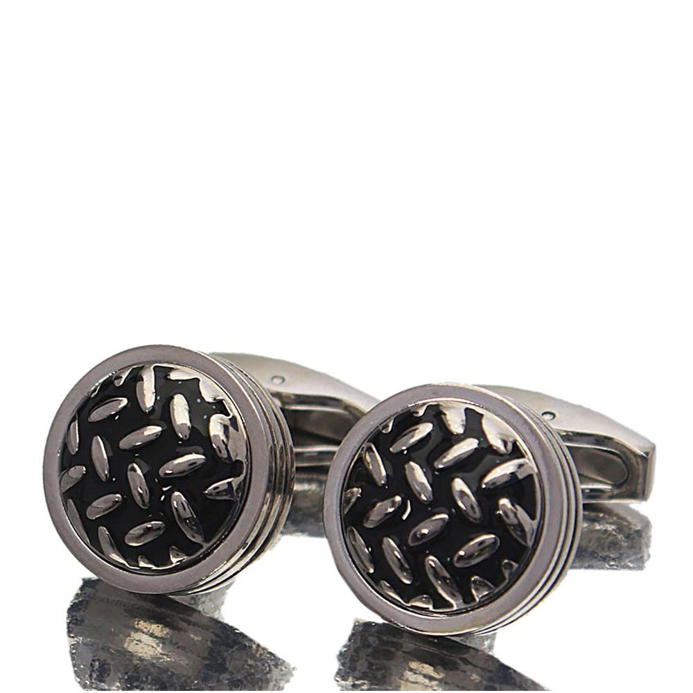 Classic Silver Black Stainless Steel Cufflinks