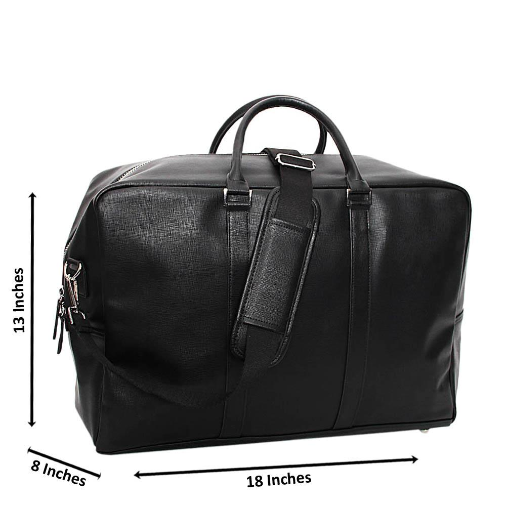 Black Miguel Leather Duffel Bag