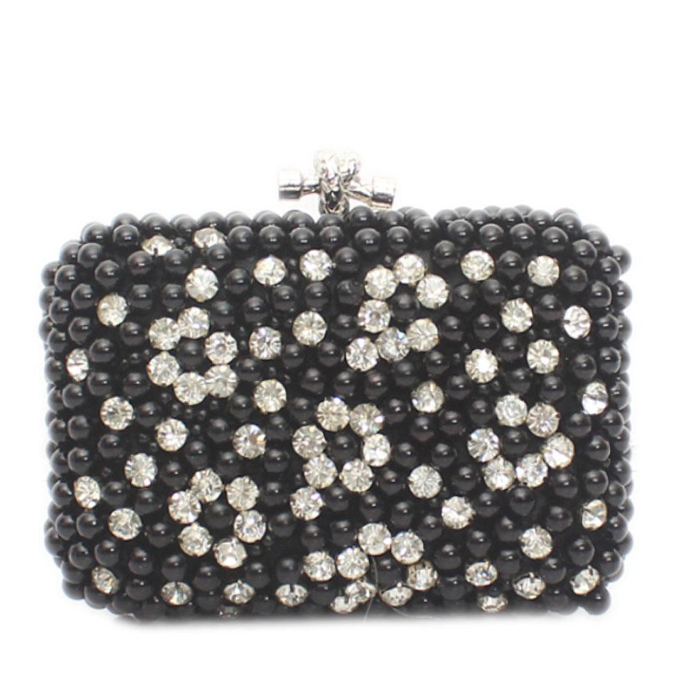 Silver Black Crystal Bead Hard Clutch Purse
