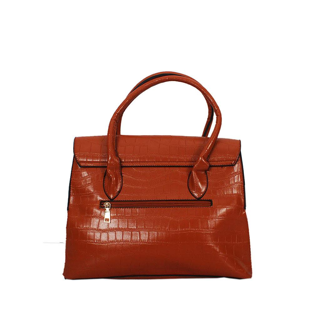 Brown Taylor Stone Croc Leather Tote Handbag
