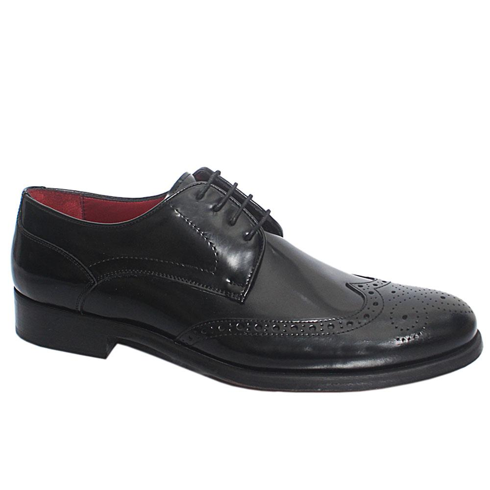 Black Paco Italian Leather Men Derby Shoe