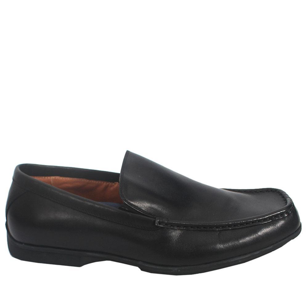 M & S Airflex Black Leather Comfort Fit Men Shoe Sz 43.5
