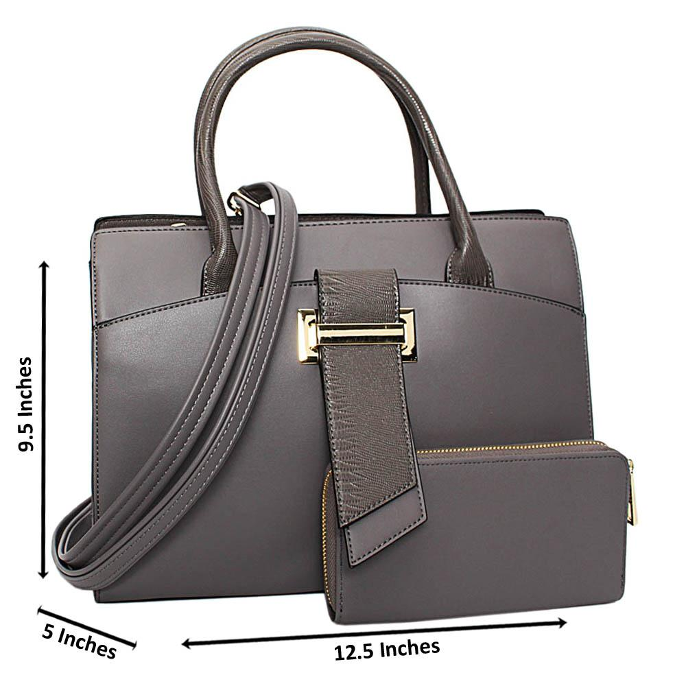 Gray Brandy Leather Medium Tote Handbag