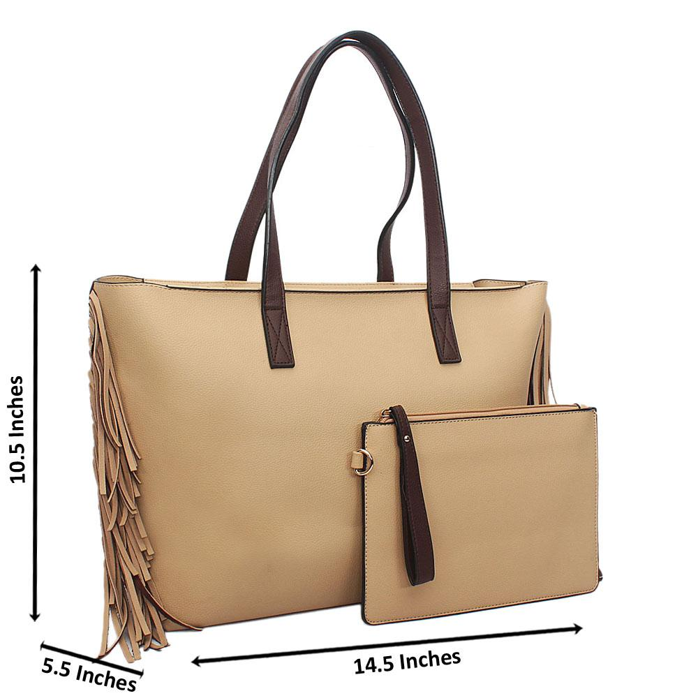 Cream Brown Nicolette Leather Tote Handbag