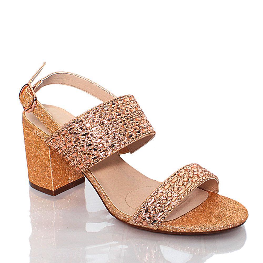 Rose Gold Crystal Studded Glitz Leather Heel Sandals