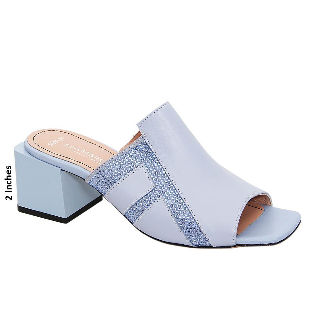 Sky Blue Carina Studded Tuscany Leather Mid Heel Mule
