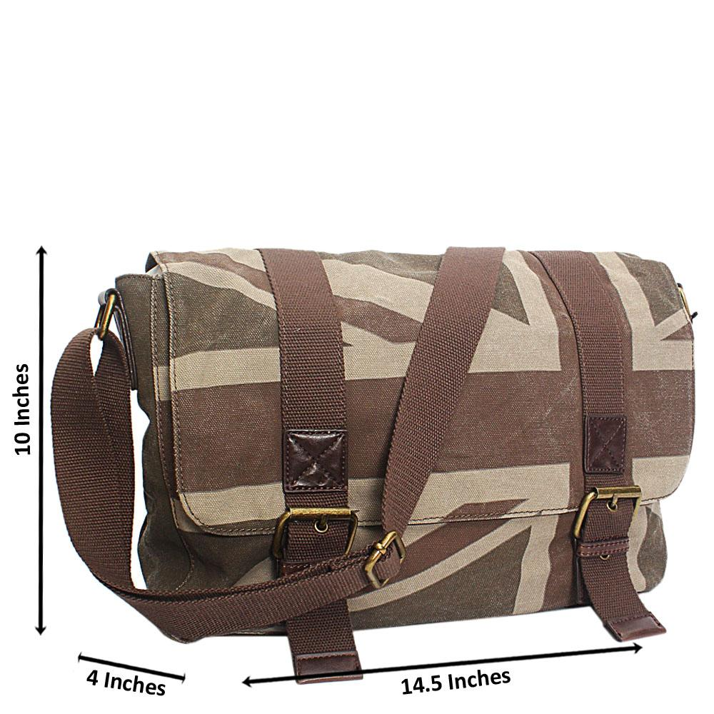 Khaki Fabric Messenger Bag