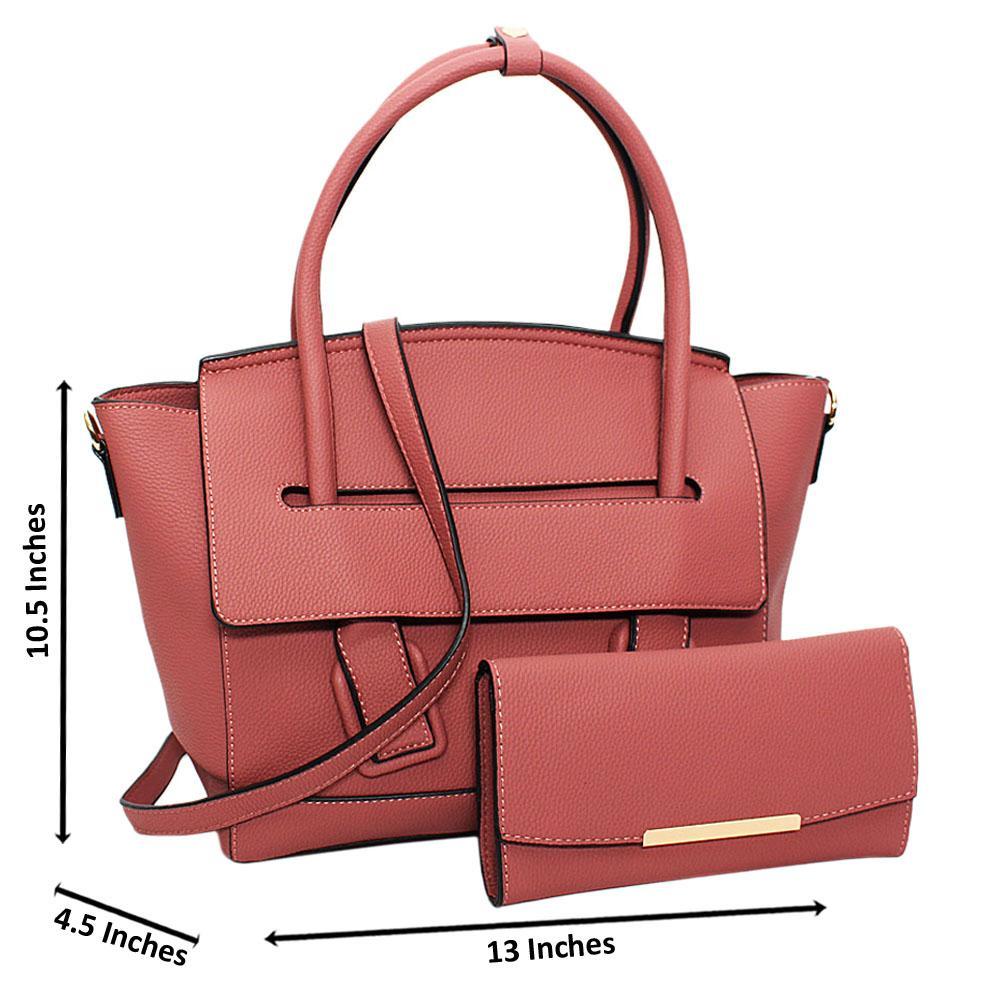 Pink Eliena Leather Medium Tote Handbag