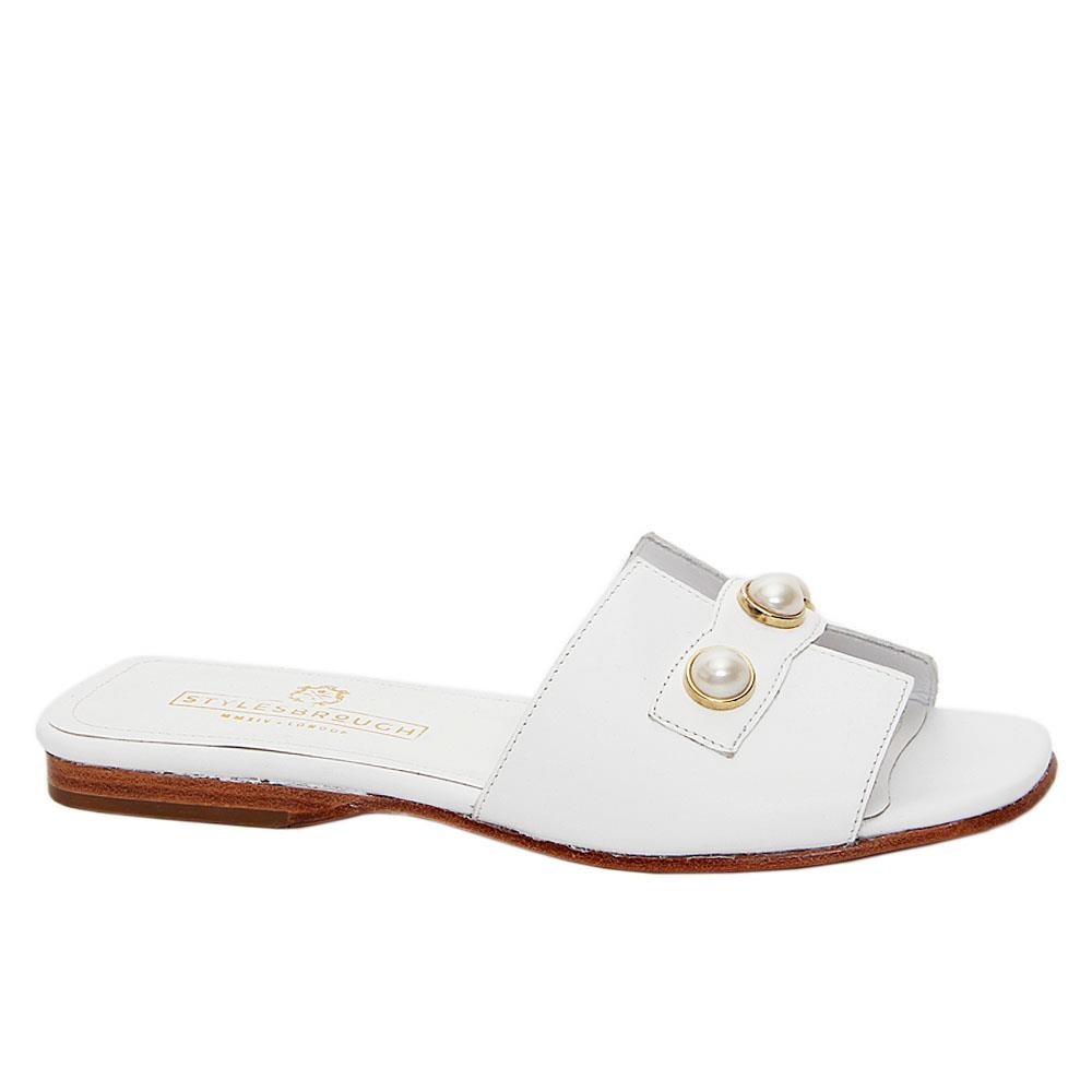 White Lilyana Italian Leather Women Flat Slippers