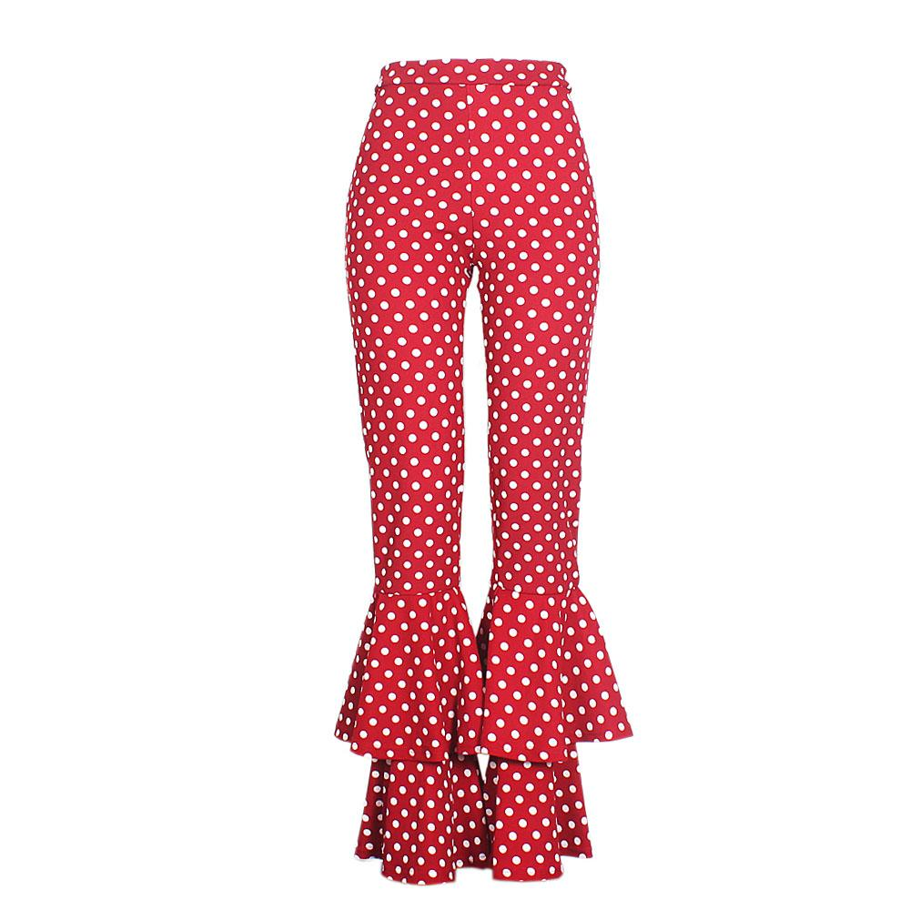 Wine White Polka Dotted Ladies Flare Trouser