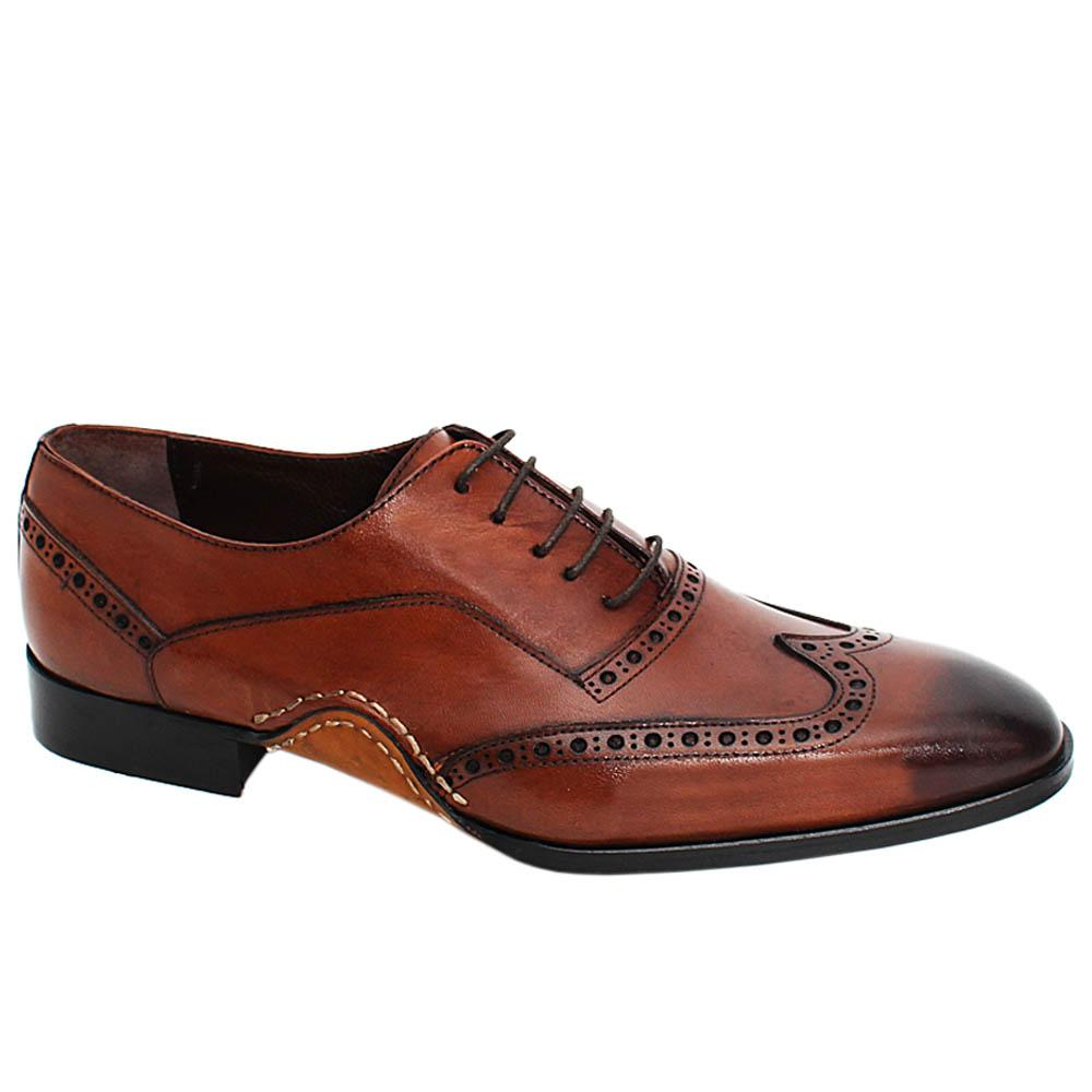 Brown Oscar Perry Wrap Sole Leather Oxford Shoes