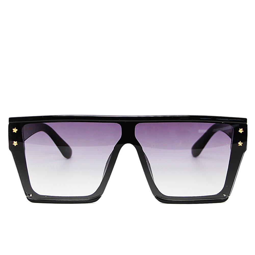 Black Over Size Shield Wide Fit Sunglasses