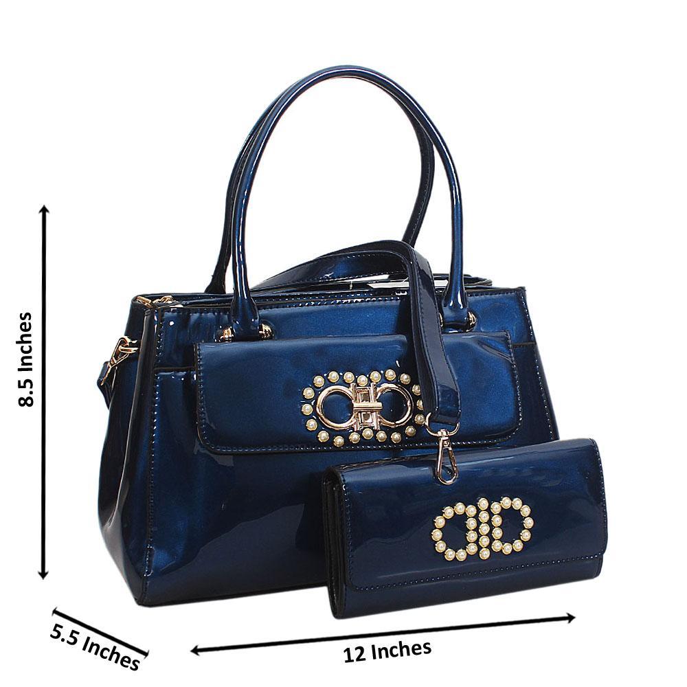 Avah Blue Patent Beaded Leather Tote Handbag Wt Purse