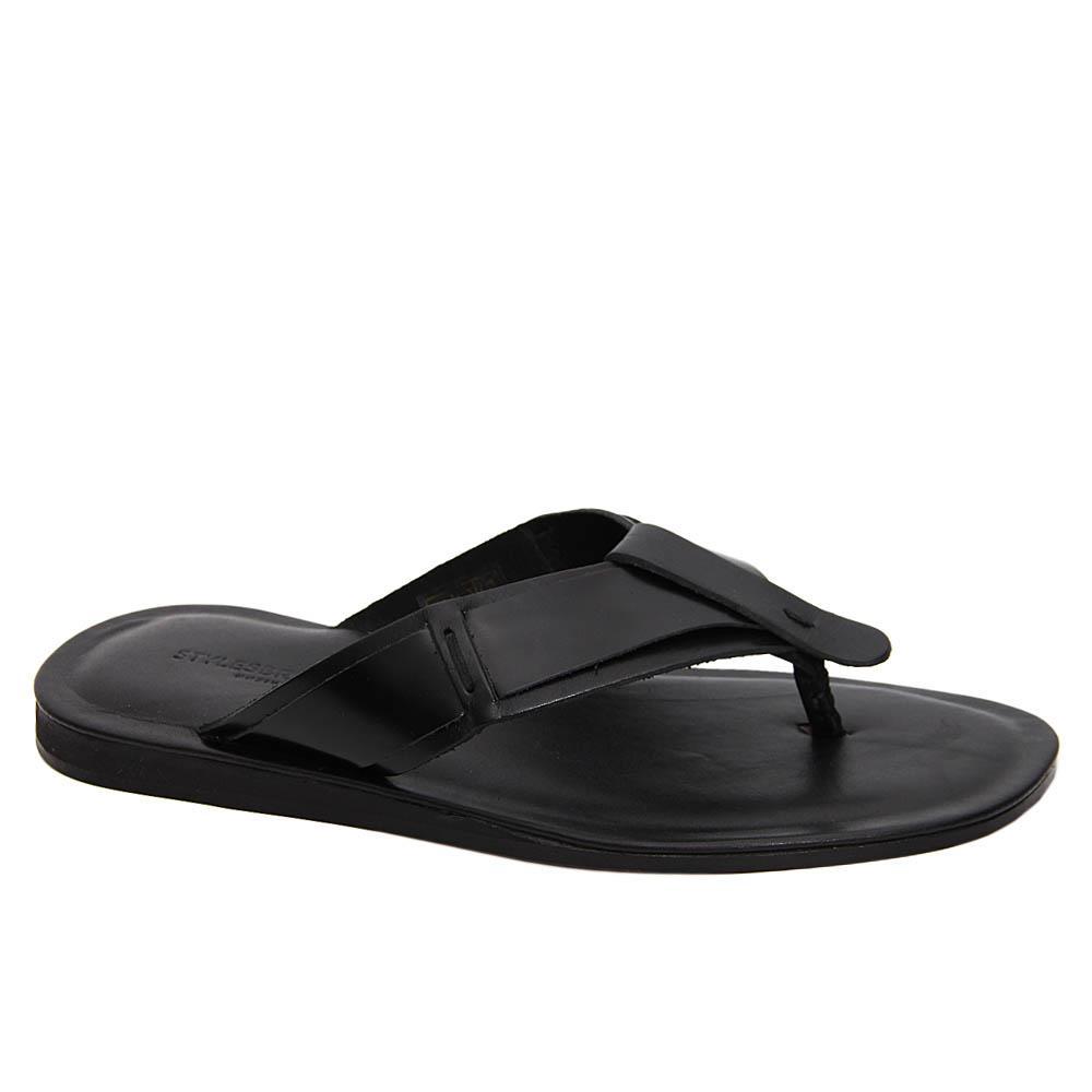 Black Rosario Italian Leather Slippers