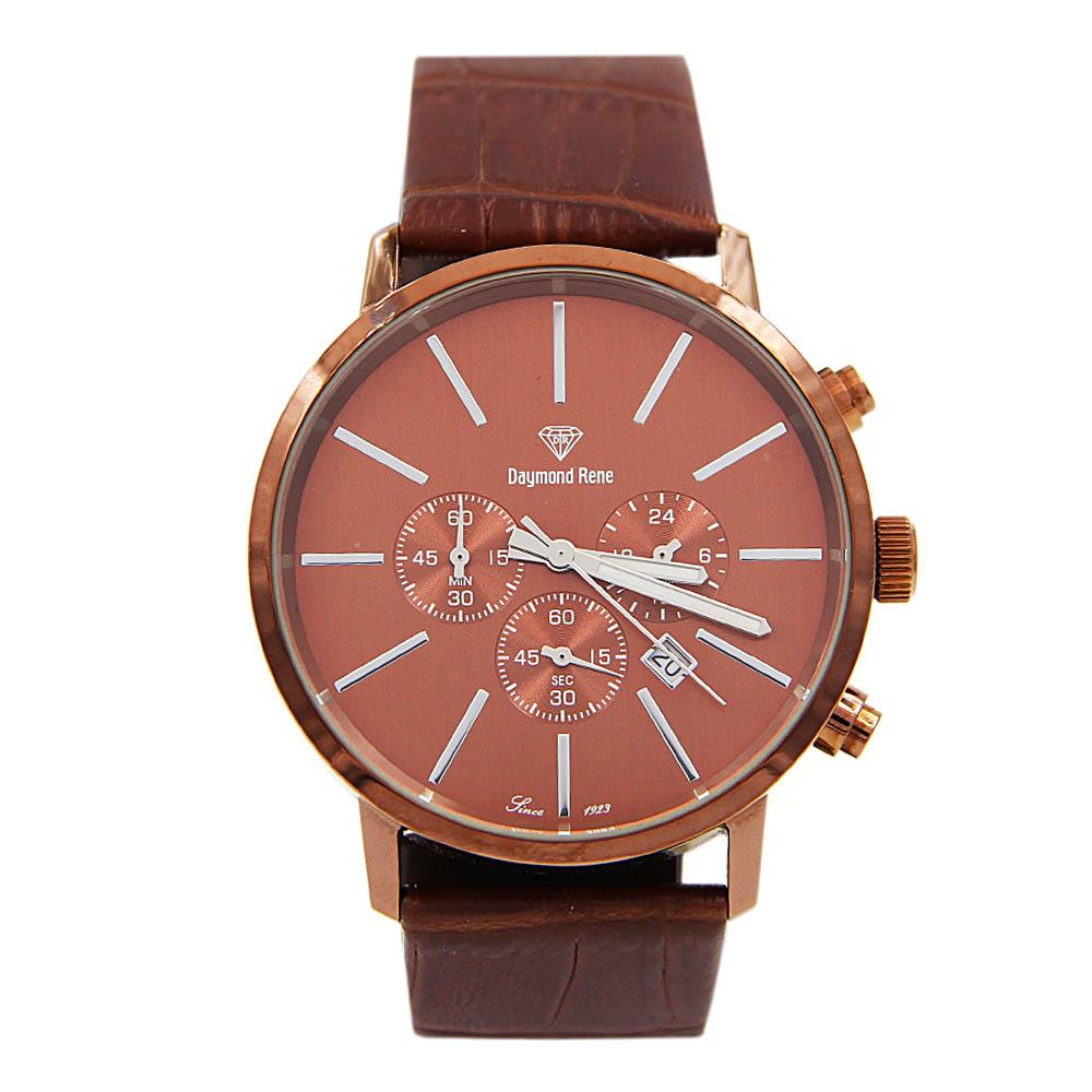 Brown Bronze Leather Chronograph Watch