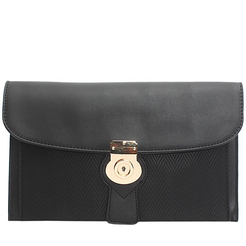 Black Woven Miliano Style Leather Flat Purse