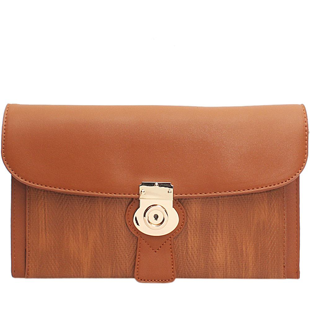 Brown WovenMiliano Style Leather Flat Purse