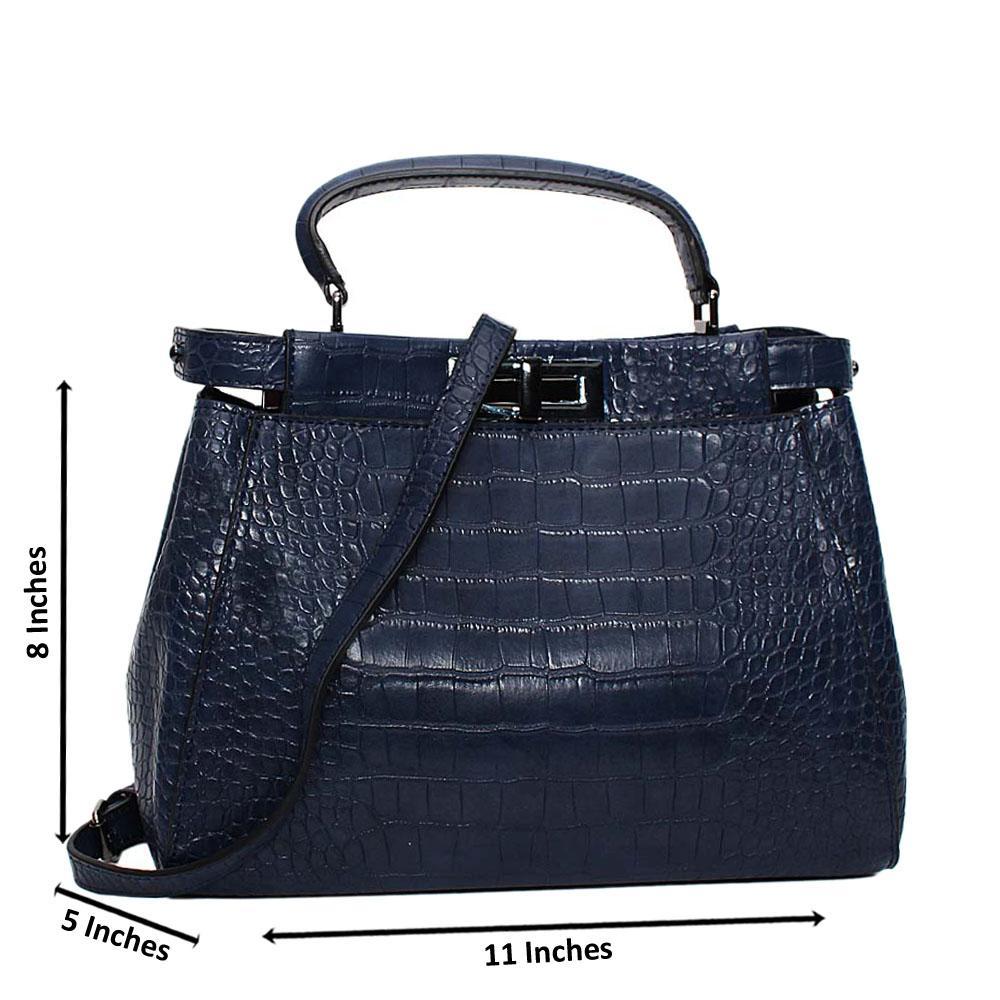 Navy Arabella Croc Leather Small Top Handle Handbag