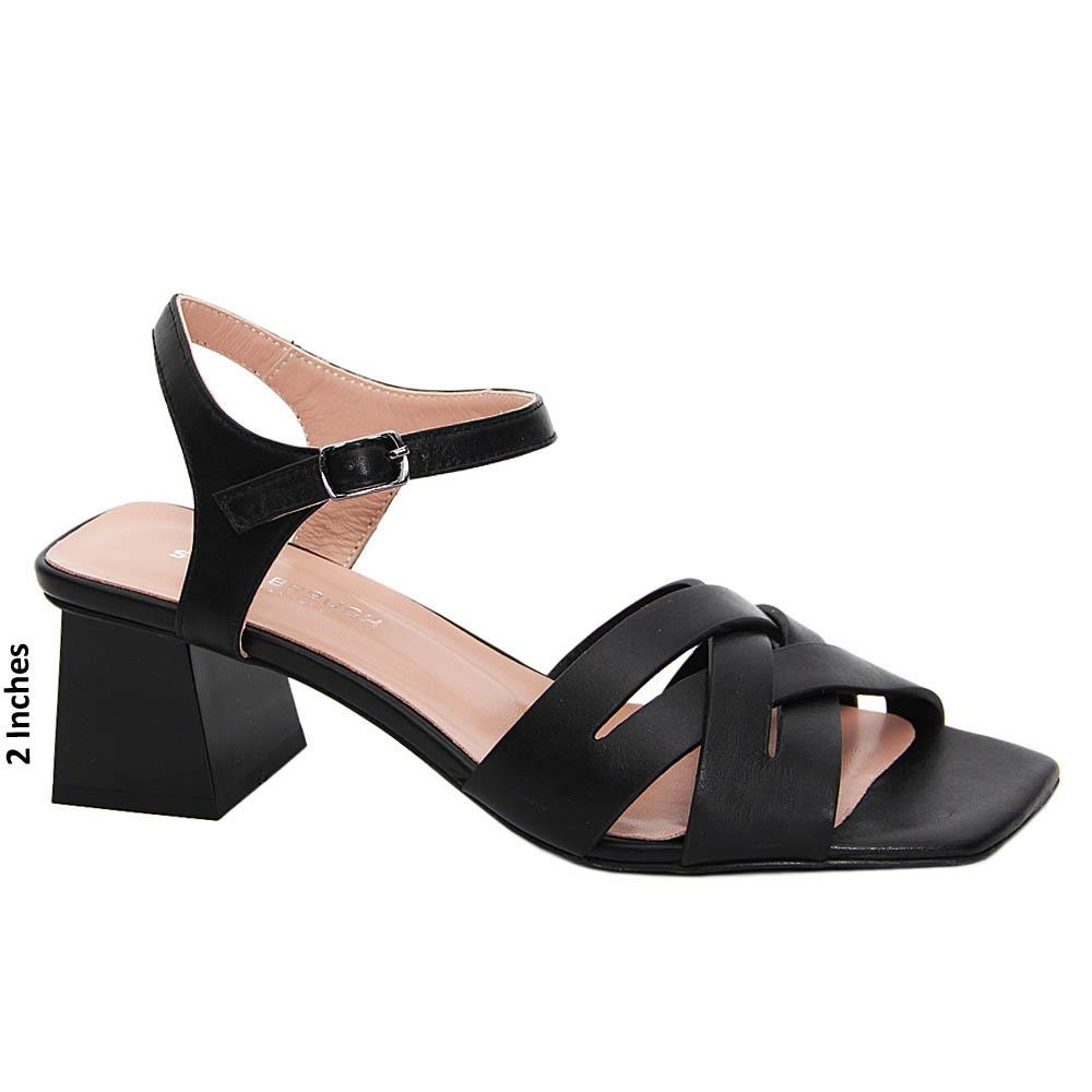 Black Jayleen Tuscany Leather Mid Heel Sandals