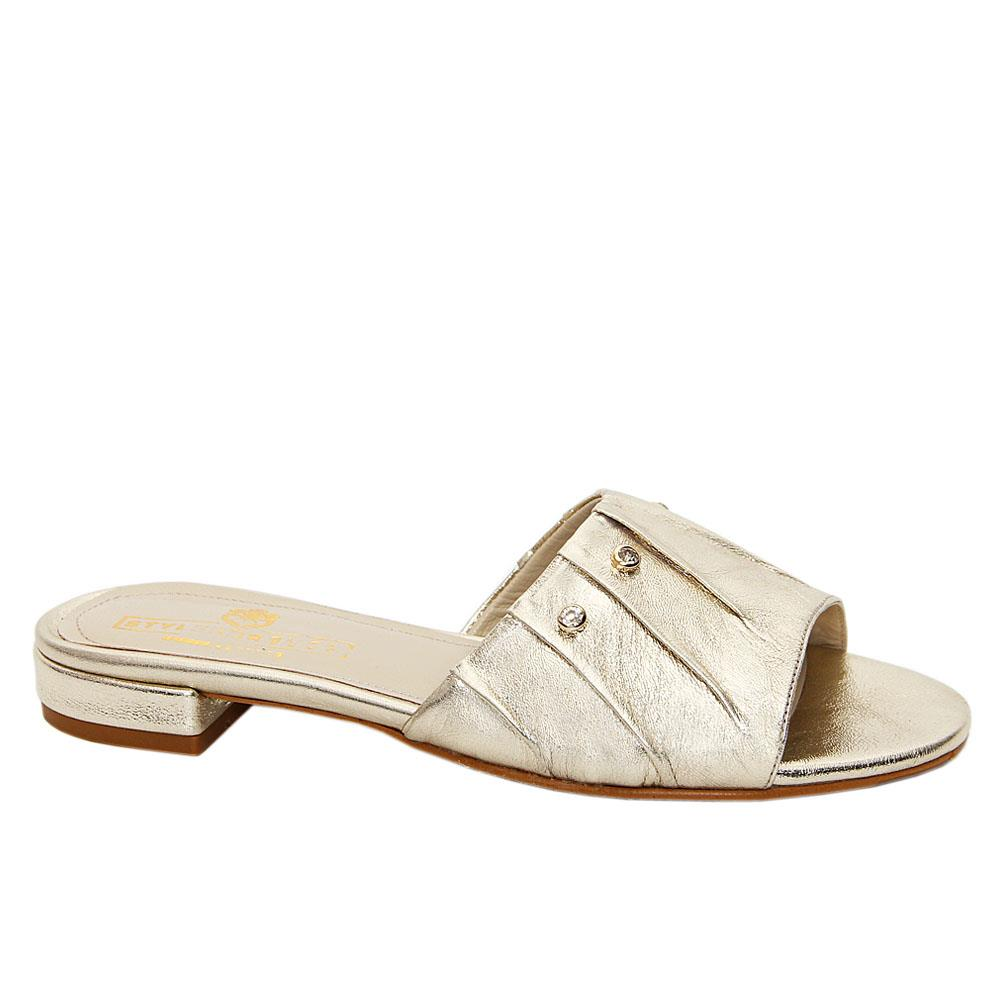 Gold Rosa Maria Italian Leather Low Heel Slippers