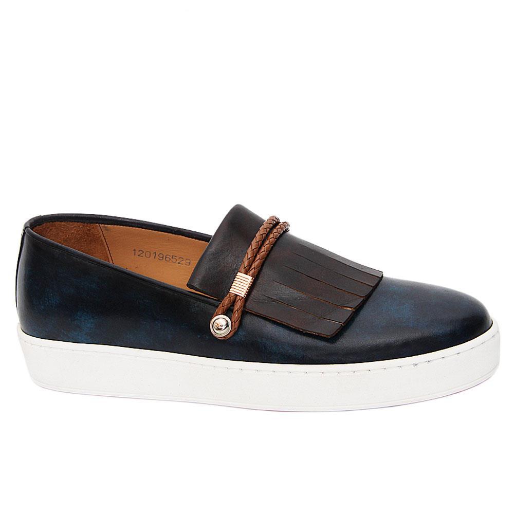 Navy Green Mix Raymond Italian Leather Fringe Slip-On Sneakers