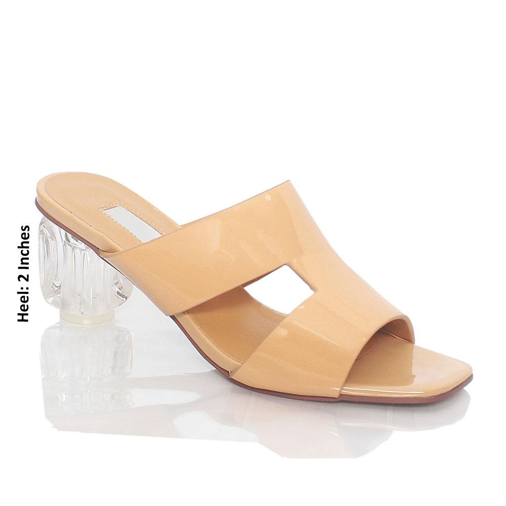 Beige Emelda Patent Leather Mules