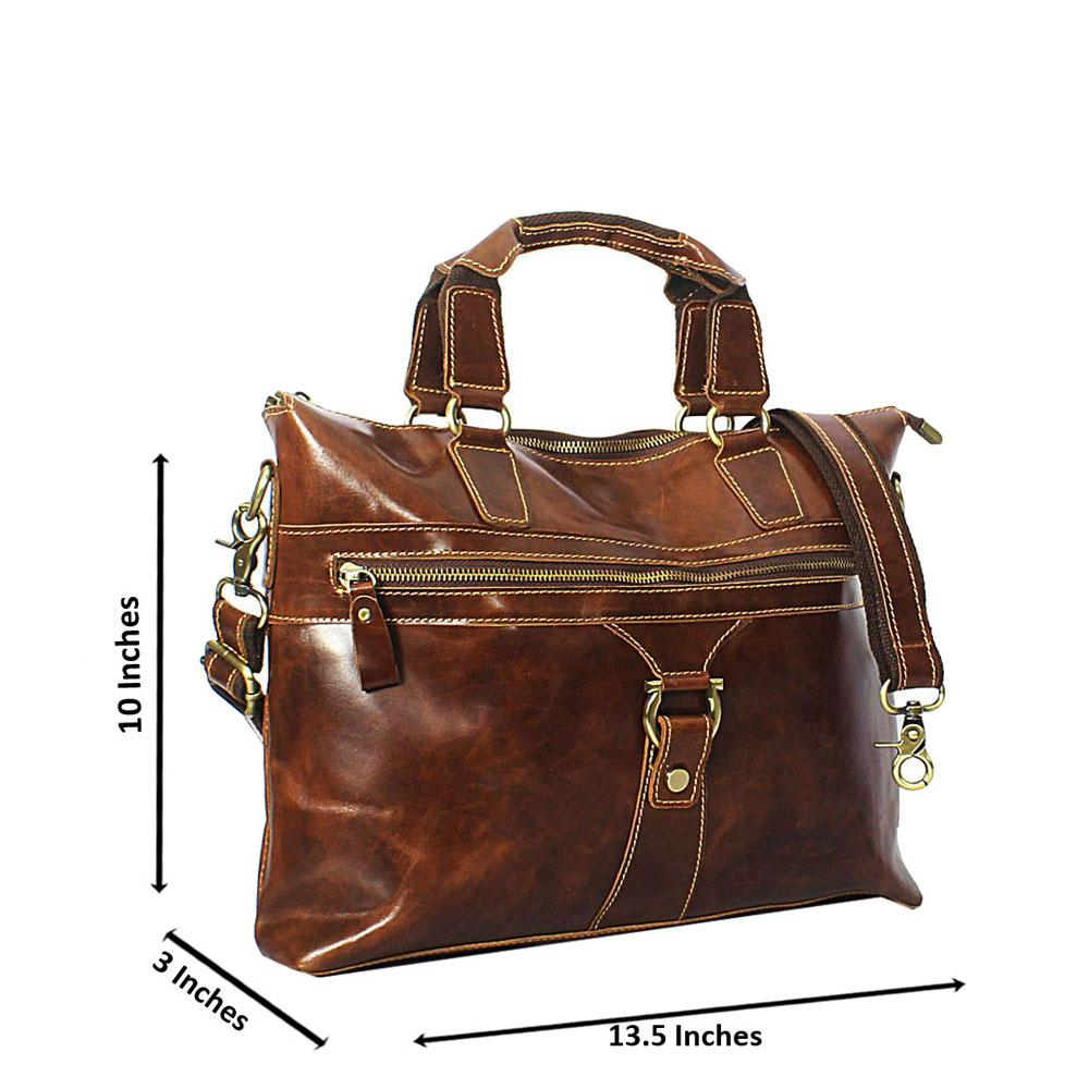 Brown Smooth Cowhide Leather Briefcase