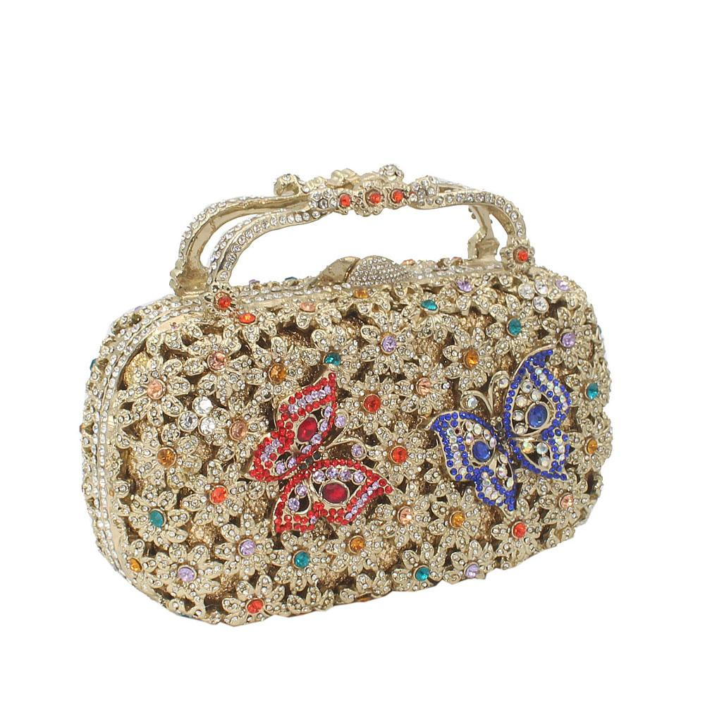 Gold Multicolor Diamante Crystal Top Handle Clutch Purse