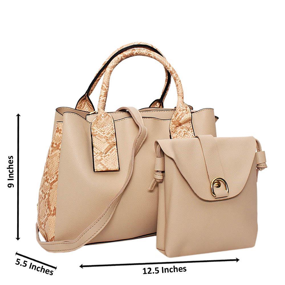 Peach Mix Snake Skin Leather Medium 2 in 1 Tote Handbag