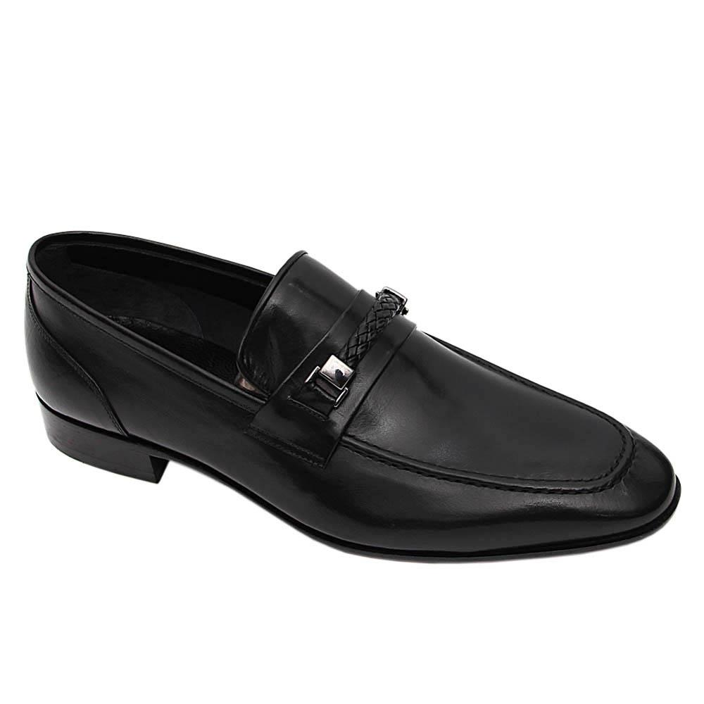 Black  Miguel Italian Leather Loafers