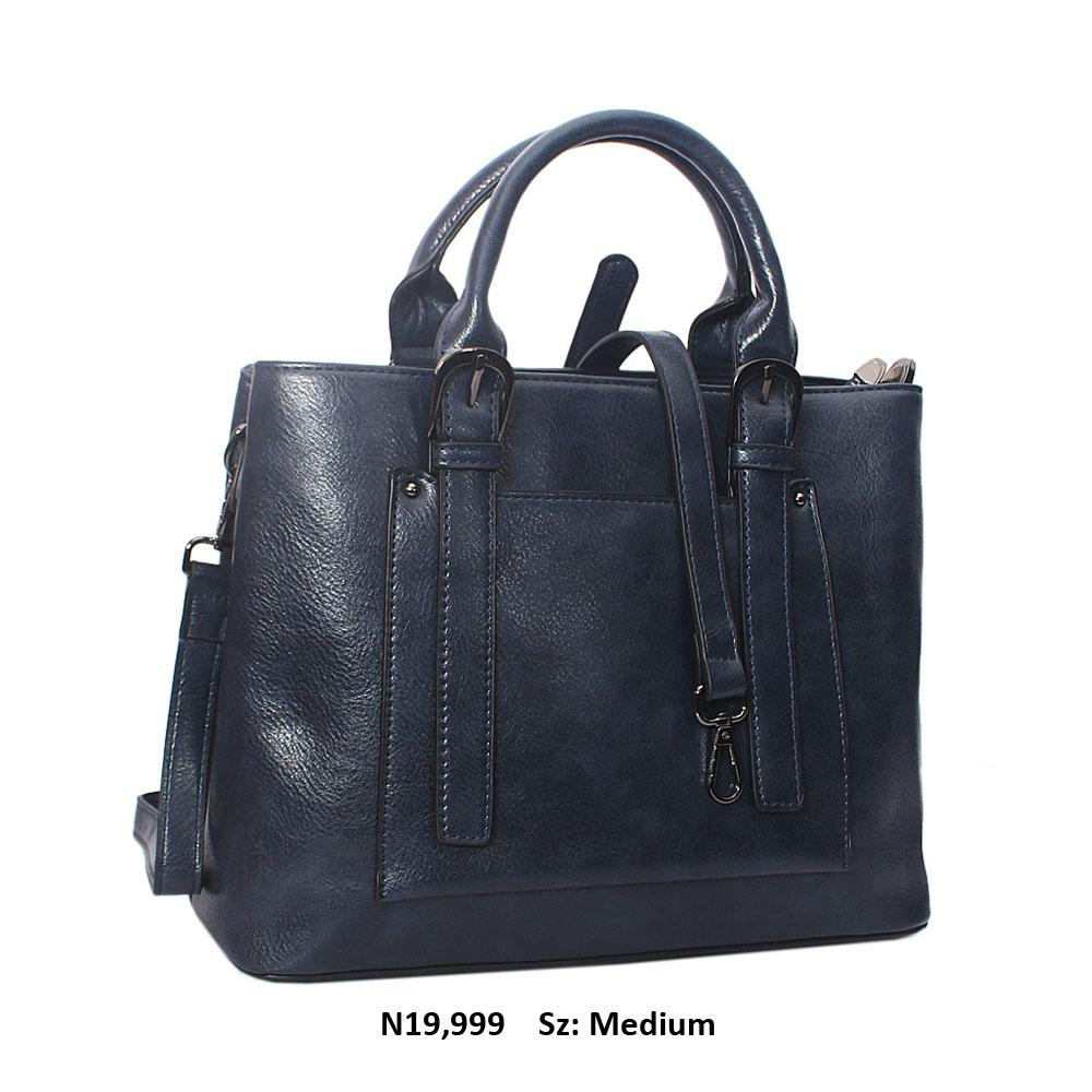Navy Scarlett Leather Tote Handbag