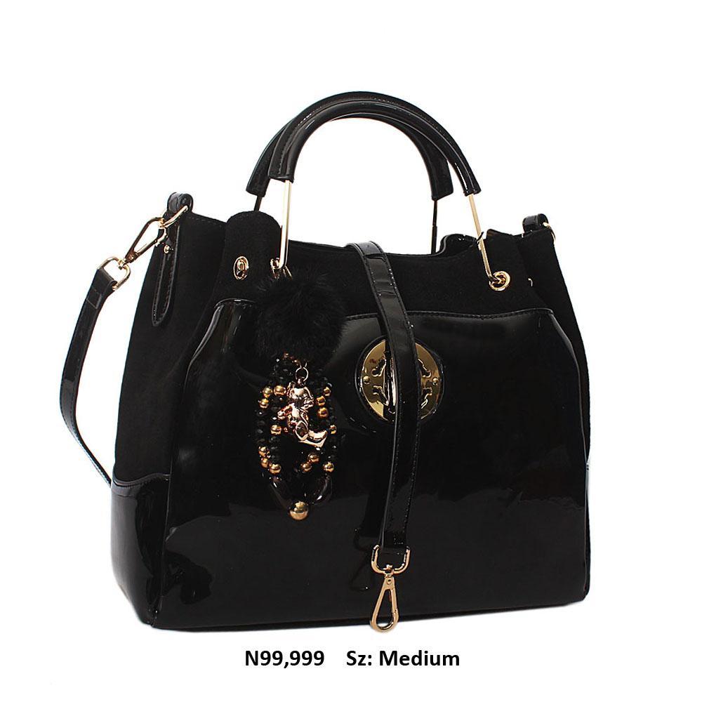 Rossie Black Suede Patent Cowhide Leather Tote Handbag