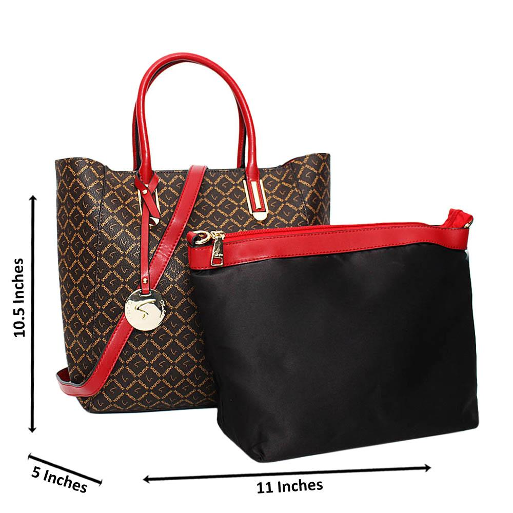 Coffee Red Ella Printed Leather Medium 2 in 1 Tote Handbag