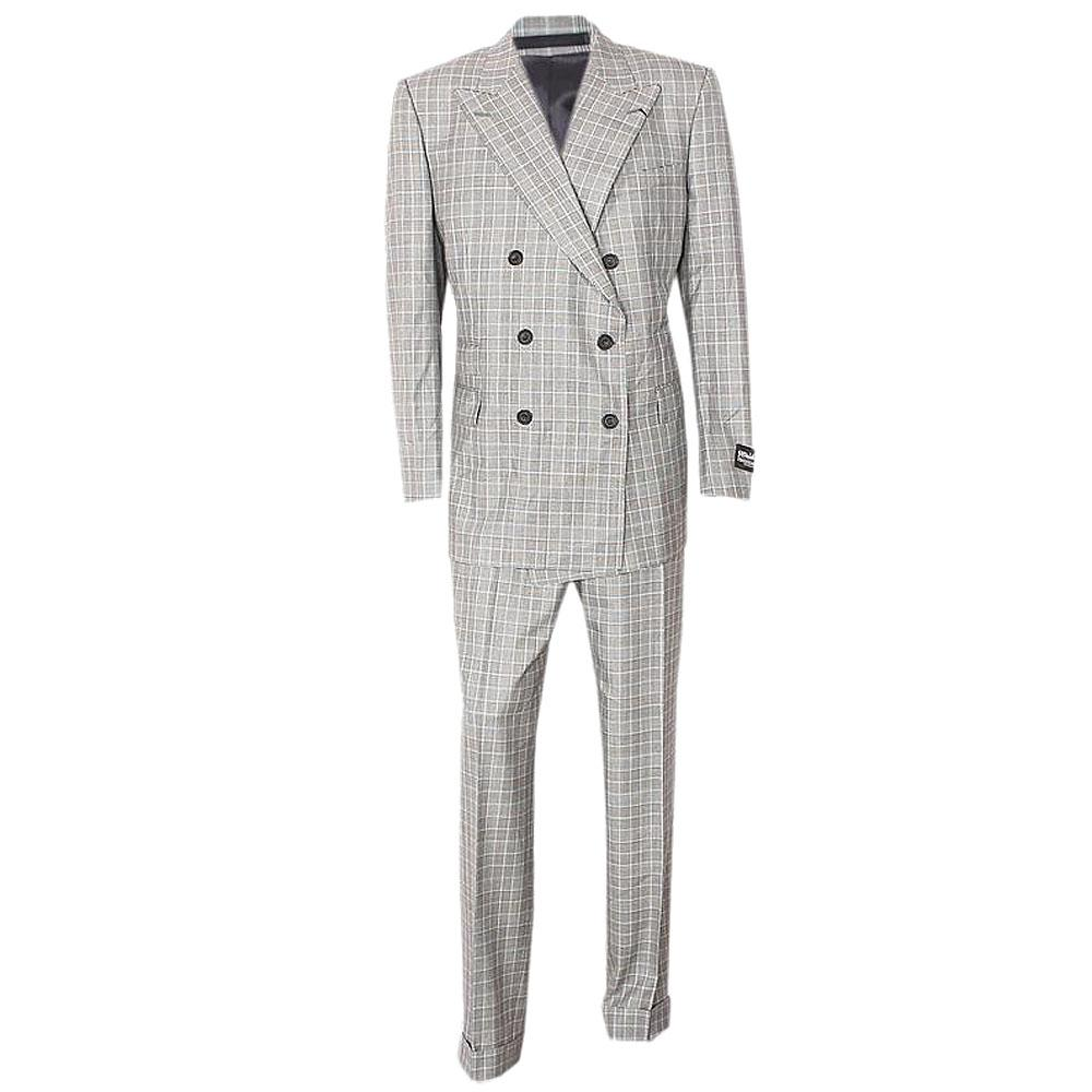 Pure Wool Gray Blue Check Tailored Fit Men Suit-40R