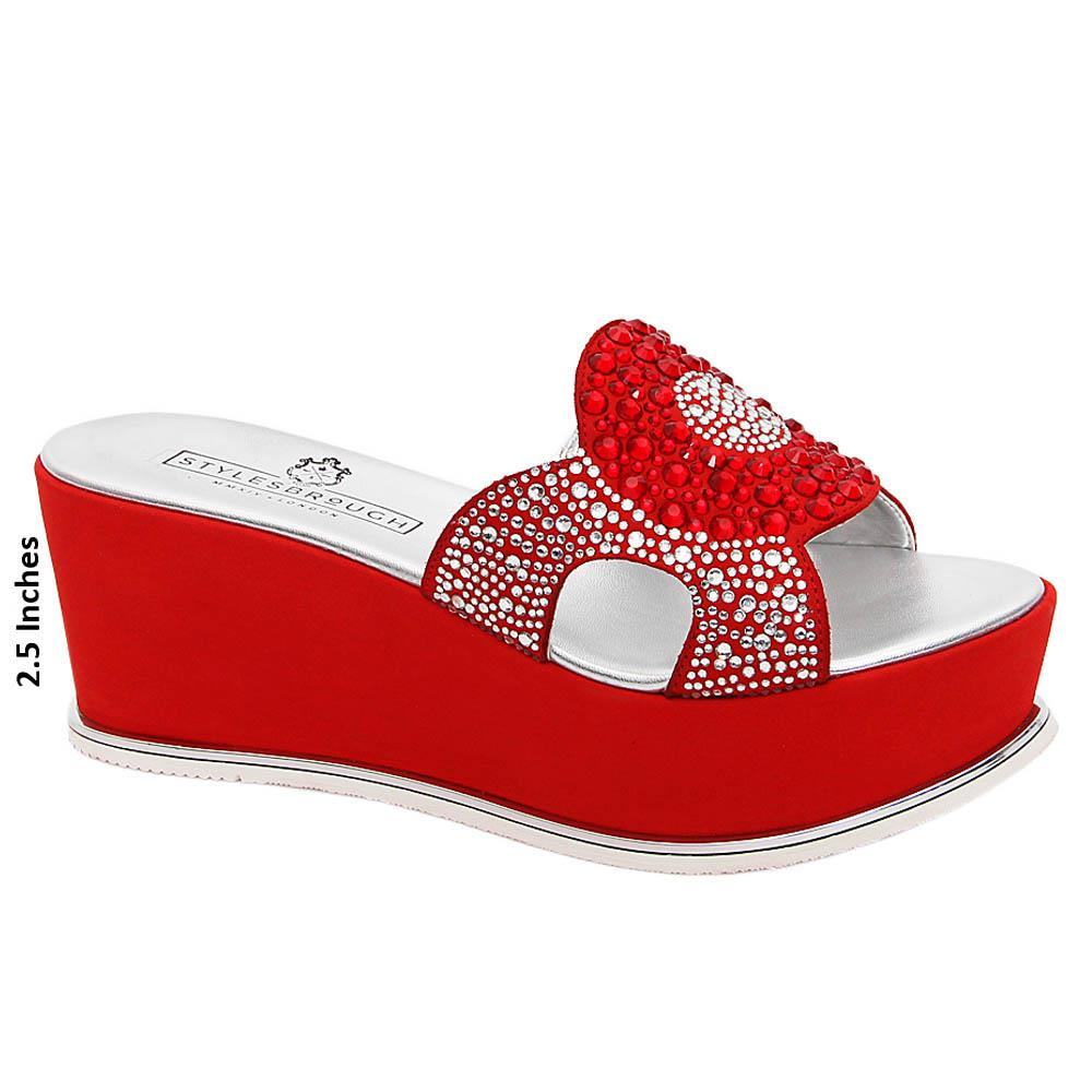 Red Galilea Studded Italian Leather Wedge