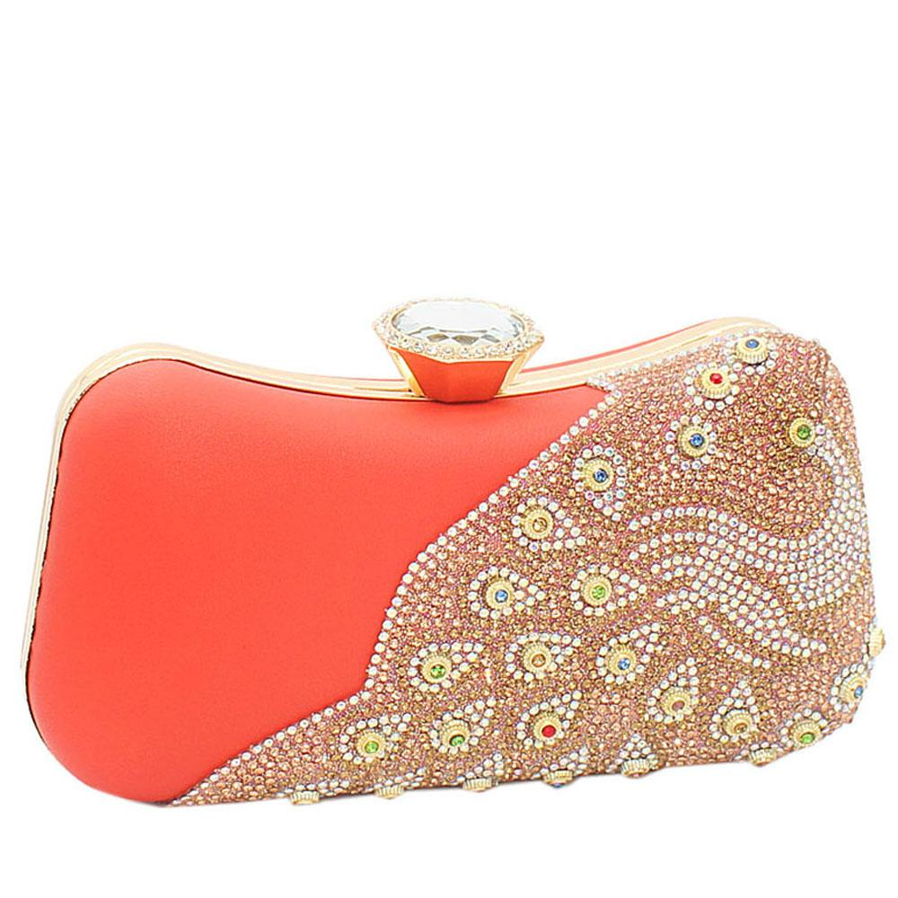 Coral Peach Ariel Evoke Studded Leather Clutch Purse