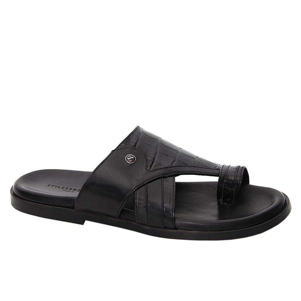Black Micamo Italian Leather Toe Loop Slippers