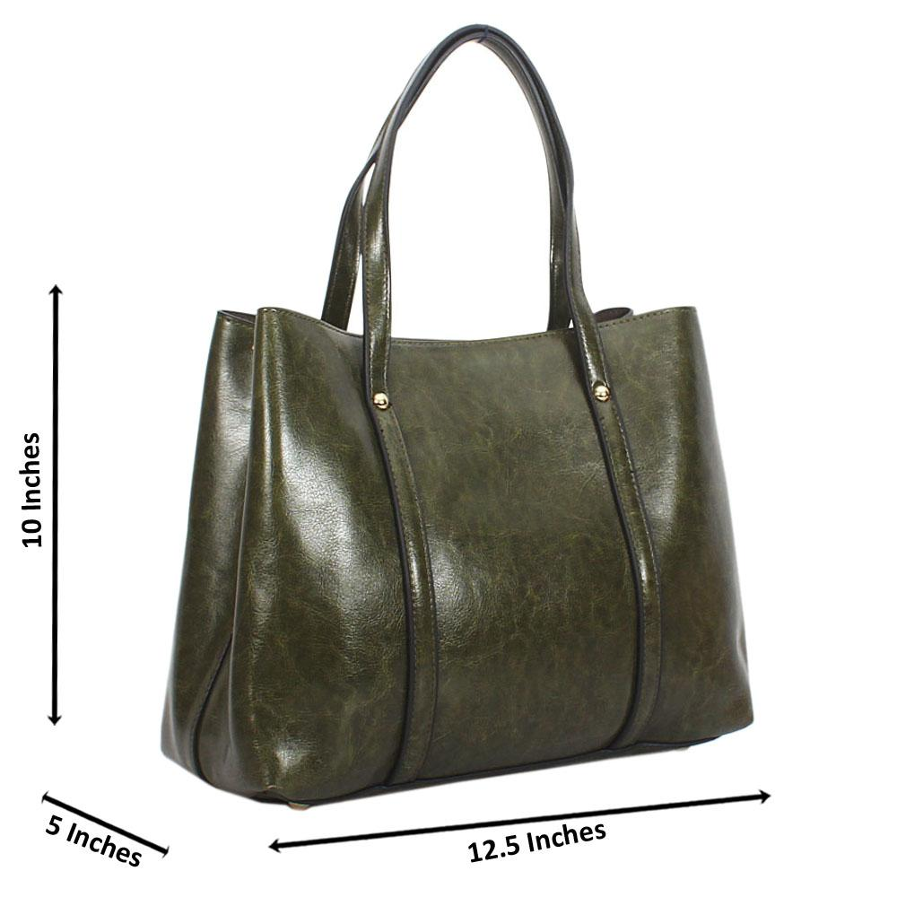 Green Bella Smooth Leather Tote Handbag