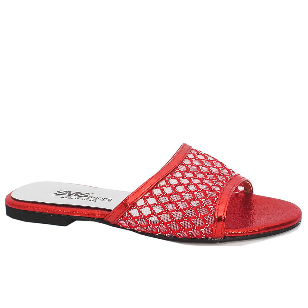 Red Leather Open Toe Mesh Flat Ladies Slippers