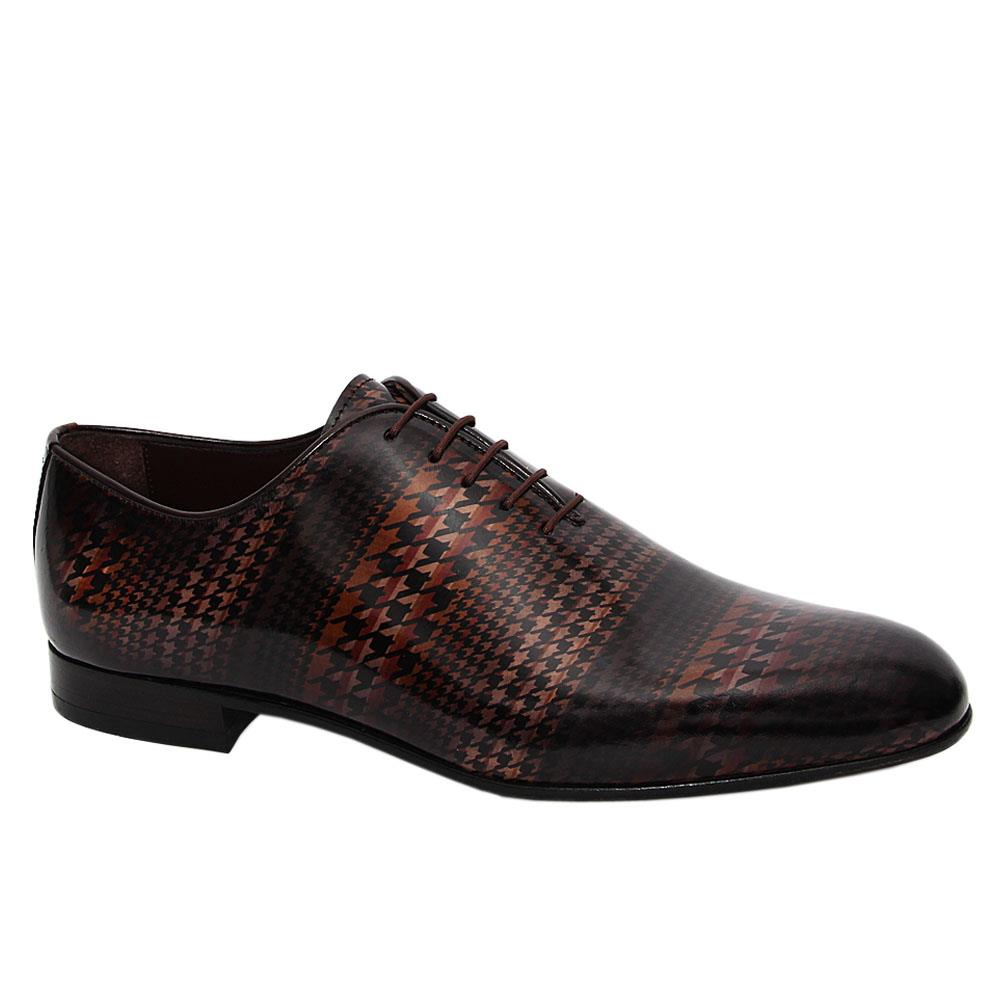 Black DigiPrint Patterned Italian Leather Oxford Shoe