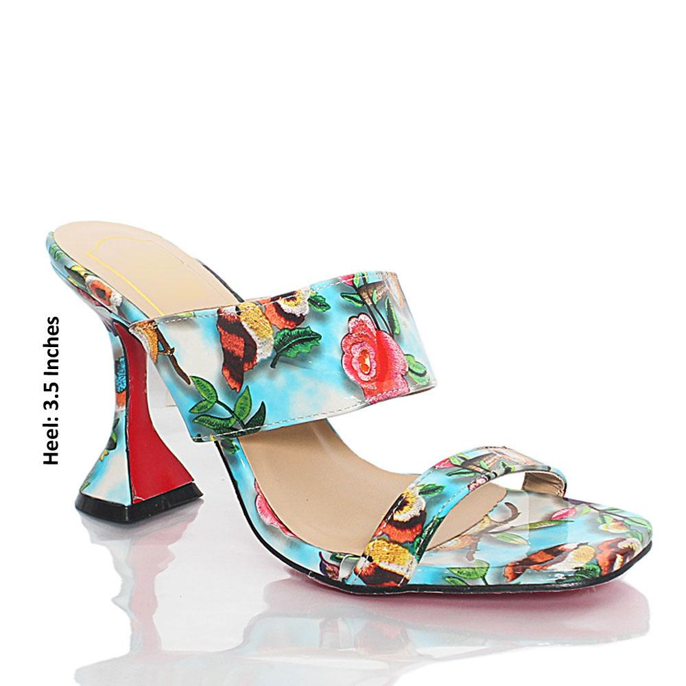 Blue Floral Graphic Print Patent Leather Mules