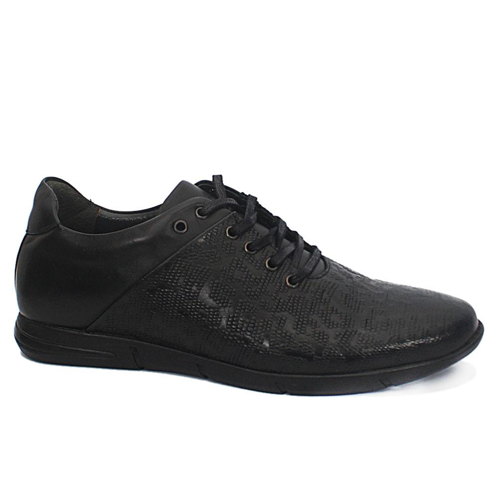 Andrea Black Embossed Leather Sneakers